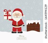 santa hold gift on snowy roof | Shutterstock .eps vector #164594129