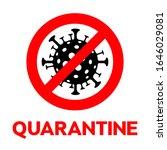 sign quarantine caution...   Shutterstock .eps vector #1646029081