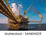 oil and gas platform with gas... | Shutterstock . vector #164604329
