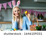 Attractive Blonde Puts Easter...