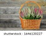 Heather Flowers In Woven Baske...