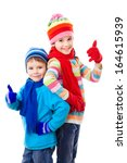 two kids in winter clothes and... | Shutterstock . vector #164615939