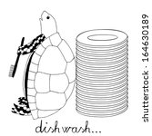 turtle cleaning plates | Shutterstock .eps vector #164630189