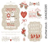 set of christmas lettering and... | Shutterstock .eps vector #164630285