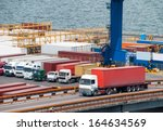 truck transport container in... | Shutterstock . vector #164634569