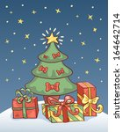 christmas card with holiday... | Shutterstock .eps vector #164642714