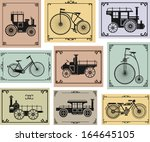 set of old bikes and cars on a... | Shutterstock . vector #164645105