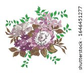 flowers and leaflets on a white ... | Shutterstock . vector #1646451277