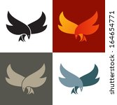 Fire bird silhouette icon. Vector graphics.