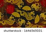 golden dragons  fan and rising... | Shutterstock .eps vector #1646565031