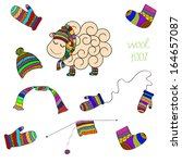 vector set with sheep  knitted...