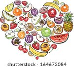 fruit arranged in heart shape | Shutterstock .eps vector #164672084