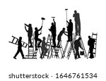 painter workers on ladder... | Shutterstock .eps vector #1646761534