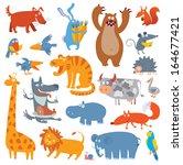 Cute Zoo Animals. Vector...