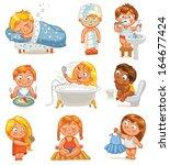 health and hygiene. baby girl... | Shutterstock .eps vector #164677424