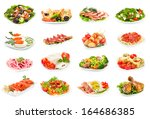 set of food on the plate... | Shutterstock . vector #164686385