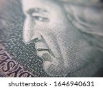 Macro (PLN) Polish 100 zloty banknotes background. One hundred zloty banknotes. close-up photo. Narodowy Bank Polski - stock photo