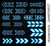blue neon 3d arrows set on... | Shutterstock .eps vector #1646956927