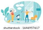 family doing morning exercises...   Shutterstock .eps vector #1646957617