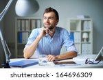 smart businessman thinking... | Shutterstock . vector #164696309