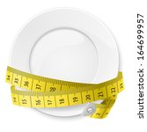 clean plate with measuring tape ... | Shutterstock .eps vector #164699957
