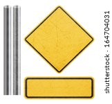 blank yellow sign with metal... | Shutterstock . vector #164704031