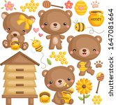 A Vector Set Of Cute Honey Bear ...