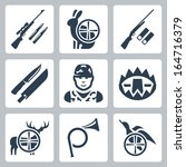 Vector hunting icons set: sniper rifle, hare, shotgun, hunting knife and sheath, hunter, trap, deer, hunting horn, duck