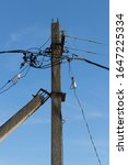 Electric Pole With Wires And...