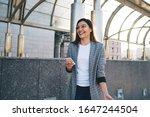 cheerful caucasian hipster girl ...   Shutterstock . vector #1647244504