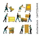delivery man carrying boxes of... | Shutterstock .eps vector #1647256444