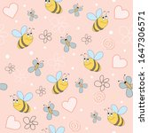 Bees With Butterflies And Pink...