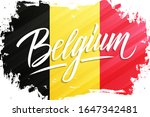 handwritten word belgium with... | Shutterstock .eps vector #1647342481