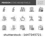 pension vector line icons.... | Shutterstock .eps vector #1647345721