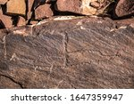 Petroglyphs on the rocks in Kazakhstan. The ancient parking cave man. Historical cave paintings. History and science of the development of ancient peoples.