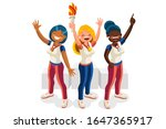 crowd of persons celebrate... | Shutterstock .eps vector #1647365917