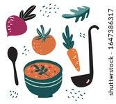 vegetable soup. hand drawn... | Shutterstock .eps vector #1647386317