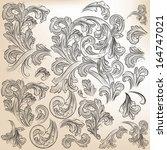 vector set of calligraphic... | Shutterstock .eps vector #164747021