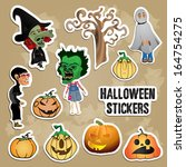 halloween stickers | Shutterstock .eps vector #164754275