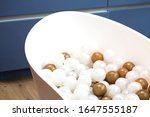 decorated white bath with small ... | Shutterstock . vector #1647555187