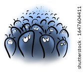 large crowd of angry blue germs | Shutterstock . vector #1647604411