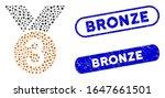 mosaic bronze medal and grunge... | Shutterstock .eps vector #1647661501