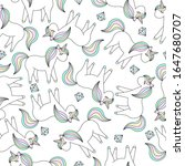 seamless pattern with unicorns... | Shutterstock .eps vector #1647680707