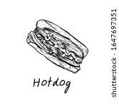 vector vintage hot dog drawing... | Shutterstock .eps vector #1647697351