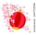 red japanese lantern hanging on ... | Shutterstock .eps vector #1647710584