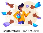 cheerful young man surrounded... | Shutterstock .eps vector #1647758041
