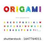 paper cut out 3d alphabet.... | Shutterstock .eps vector #1647764011