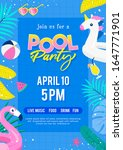 pool party invitation poster... | Shutterstock .eps vector #1647771901