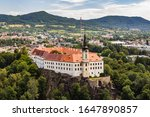 View of Decin Castle and town. Tetschen castle and city, Czech republic.