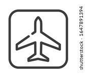 airplane black line icon....